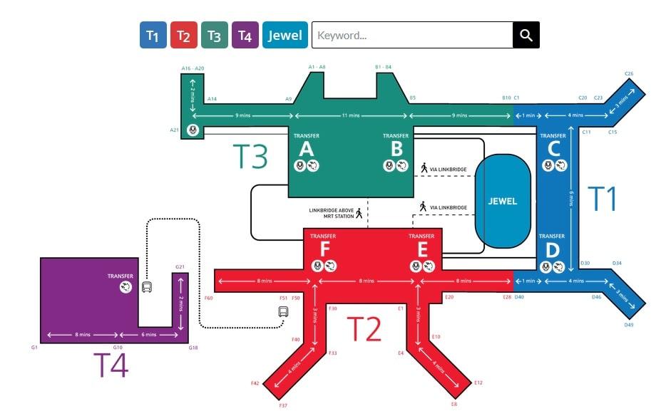 План аэропорта Чанги в Сингапуре