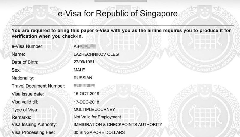 Электронная виза в Сингапур