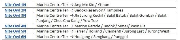 ночные автобусы сингапура
