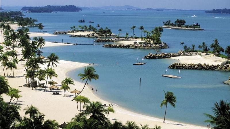 Пляжи в Сингапуре с высоты