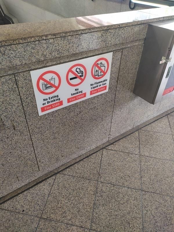 Запреты в метро Сингапура