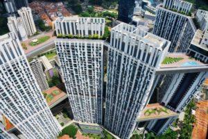 вид на сингапур с высоты птичьего полета